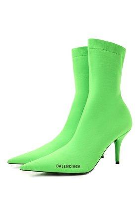 Женские текстильные ботильоны knife BALENCIAGA зеленого цвета, арт. 616246/W1802 | Фото 1 (Подошва: Плоская; Материал внешний: Текстиль; Каблук высота: Высокий; Материал внутренний: Текстиль; Каблук тип: Шпилька)