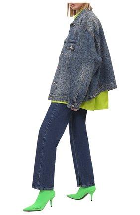 Женские текстильные ботильоны knife BALENCIAGA зеленого цвета, арт. 616246/W1802 | Фото 2 (Подошва: Плоская; Материал внешний: Текстиль; Каблук высота: Высокий; Материал внутренний: Текстиль; Каблук тип: Шпилька)