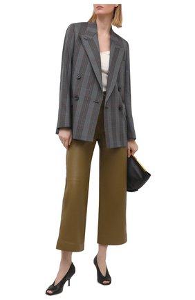 Женские кожаные брюки PROENZA SCHOULER WHITE LABEL хаки цвета, арт. WL2126070-LR184 | Фото 2