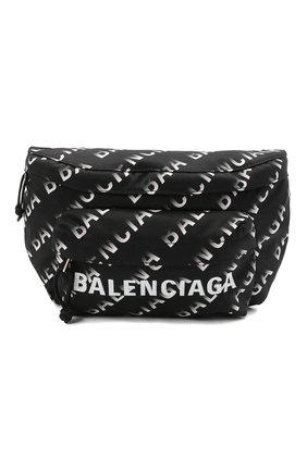 Мужская текстильная поясная сумка wheel BALENCIAGA черного цвета, арт. 533009/H857X   Фото 1 (Материал: Текстиль)