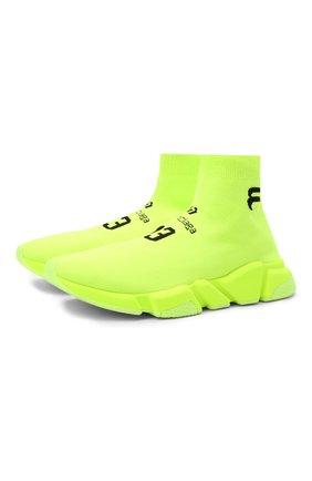 Мужские текстильные кроссовки speed BALENCIAGA желтого цвета, арт. 645734/W2DBV | Фото 1