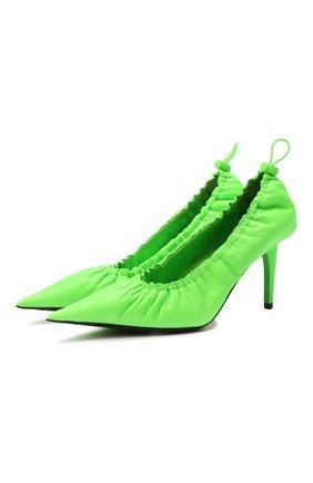 Женские кожаные туфли scrunch BALENCIAGA зеленого цвета, арт. 636612/WB9Y0 | Фото 1 (Каблук высота: Высокий; Подошва: Плоская; Материал внутренний: Натуральная кожа; Каблук тип: Шпилька)
