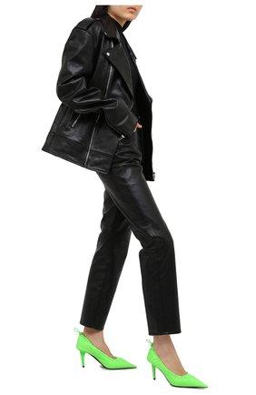 Женские кожаные туфли scrunch BALENCIAGA зеленого цвета, арт. 636612/WB9Y0 | Фото 2 (Каблук высота: Высокий; Подошва: Плоская; Материал внутренний: Натуральная кожа; Каблук тип: Шпилька)