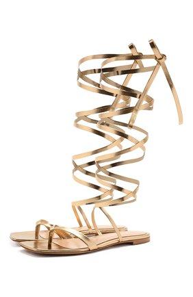 Женские кожаные сандалии ribbon GIANVITO ROSSI золотого цвета, арт. G32004.05CU0.NPSMEK0 | Фото 1 (Каблук высота: Низкий; Материал внутренний: Натуральная кожа; Подошва: Плоская)