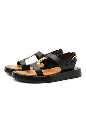Женские кожаные сандалии BURBERRY черного цвета, арт. 8039244 | Фото 1 (Материал внутренний: Натуральная кожа; Подошва: Платформа)