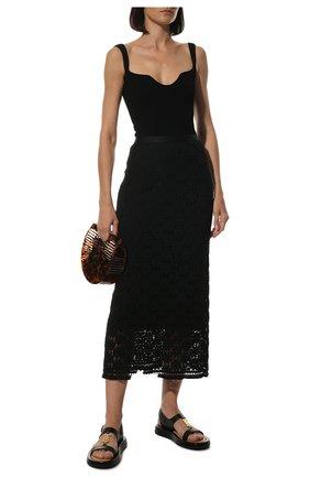 Женские кожаные сандалии BURBERRY черного цвета, арт. 8039244 | Фото 2 (Материал внутренний: Натуральная кожа; Подошва: Платформа)