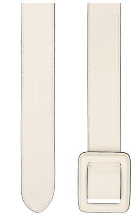 Женский кожаный ремень RALPH LAUREN кремвого цвета, арт. 408841264 | Фото 2 (Материал: Кожа)
