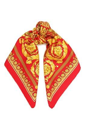 Женский шелковый платок VERSACE красного цвета, арт. IF07001/IT03057 | Фото 1 (Материал: Текстиль, Шелк; Принт: С принтом)