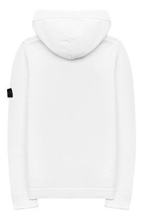 Детский хлопковый кардиган STONE ISLAND белого цвета, арт. 7416511A5/14   Фото 2