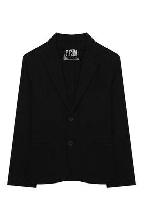 Детский хлопковый пиджак PAOLO PECORA MILANO черного цвета, арт. PP2731/8A-12A | Фото 1 (Материал внешний: Хлопок; Рукава: Длинные; Кросс-КТ: пиджак; Ростовка одежда: 10 - 11 лет | 140 - 146см, 12 лет | 152 см, 8 лет | 128 см)