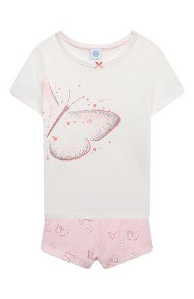 Детская хлопковая пижама SANETTA светло-розового цвета, арт. 232606 | Фото 1