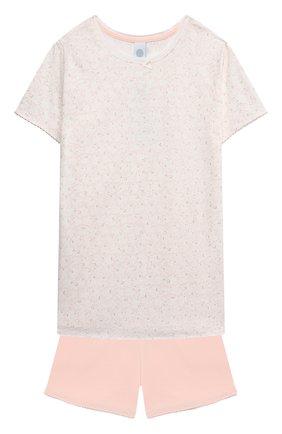 Детская хлопковая пижама SANETTA светло-розового цвета, арт. 244949 | Фото 1