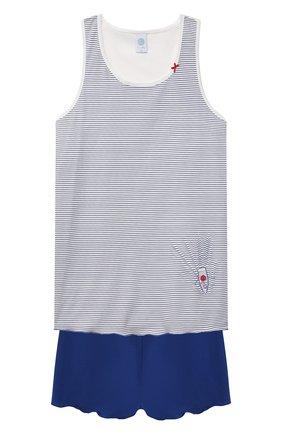 Детская хлопковая пижама SANETTA синего цвета, арт. 244977 | Фото 1