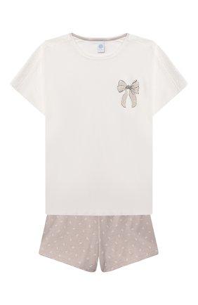 Детская хлопковая пижама SANETTA светло-розового цвета, арт. 244945 | Фото 1