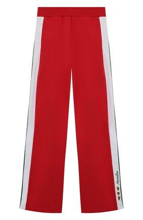 Детские хлопковые брюки MONNALISA красного цвета, арт. 197421RB | Фото 1