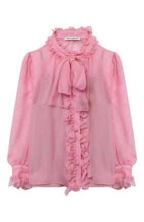 Детское шелковая блузка DOLCE & GABBANA розового цвета, арт. L54S92/FU1AT/2-6 | Фото 1