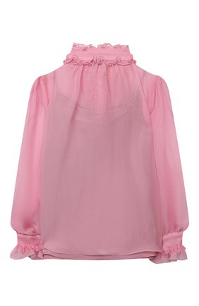 Детское шелковая блузка DOLCE & GABBANA розового цвета, арт. L54S92/FU1AT/2-6 | Фото 2