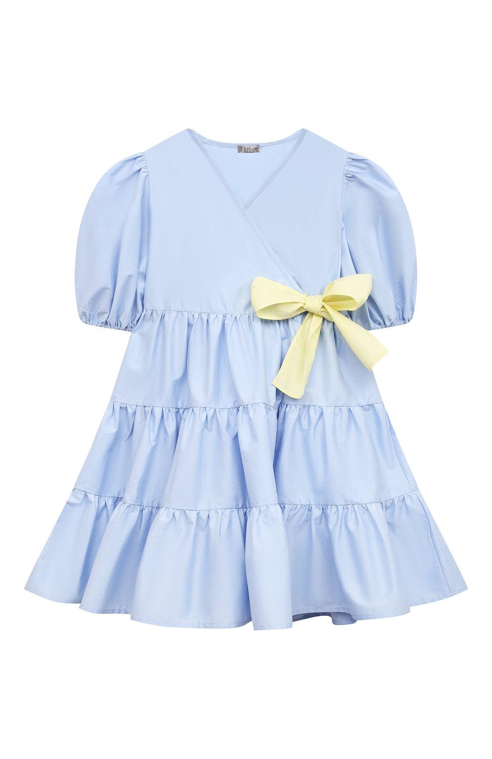 Детское хлопковое платье IL GUFO голубого цвета, арт. P21VM619C0046/2A-4A | Фото 1