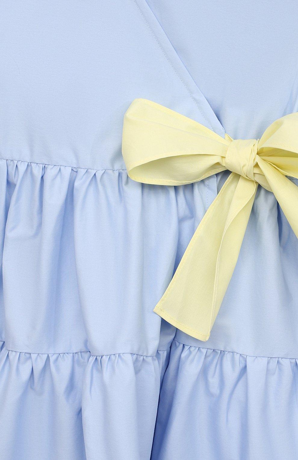 Детское хлопковое платье IL GUFO голубого цвета, арт. P21VM619C0046/2A-4A | Фото 3