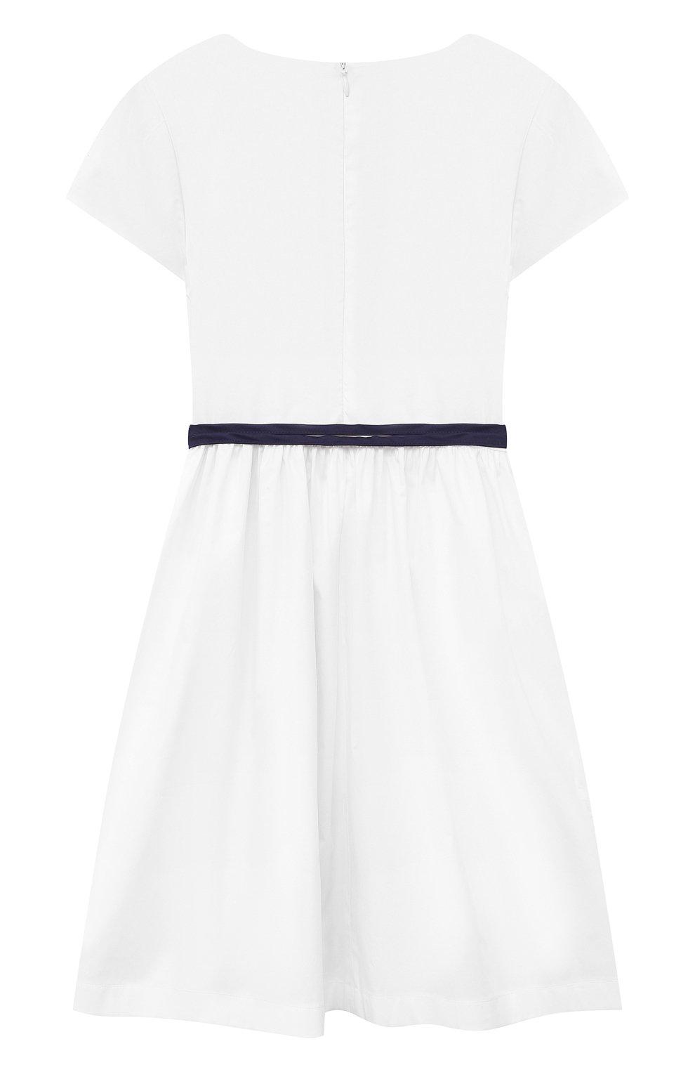 Детское хлопковое платье IL GUFO белого цвета, арт. P21VM608C0046/2A-4A   Фото 2