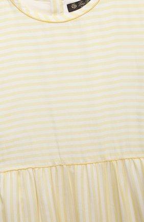 Детское шелковое платье LORO PIANA желтого цвета, арт. FAL5073   Фото 3 (Материал внешний: Шелк; Случай: Повседневный; Девочки Кросс-КТ: Платье-одежда; Материал подклада: Хлопок; Ростовка одежда: 10 - 11 лет   140 - 146см, 2 года   92 см, 4 года   104 см, 6 лет   116 см, 8 лет   128 см)