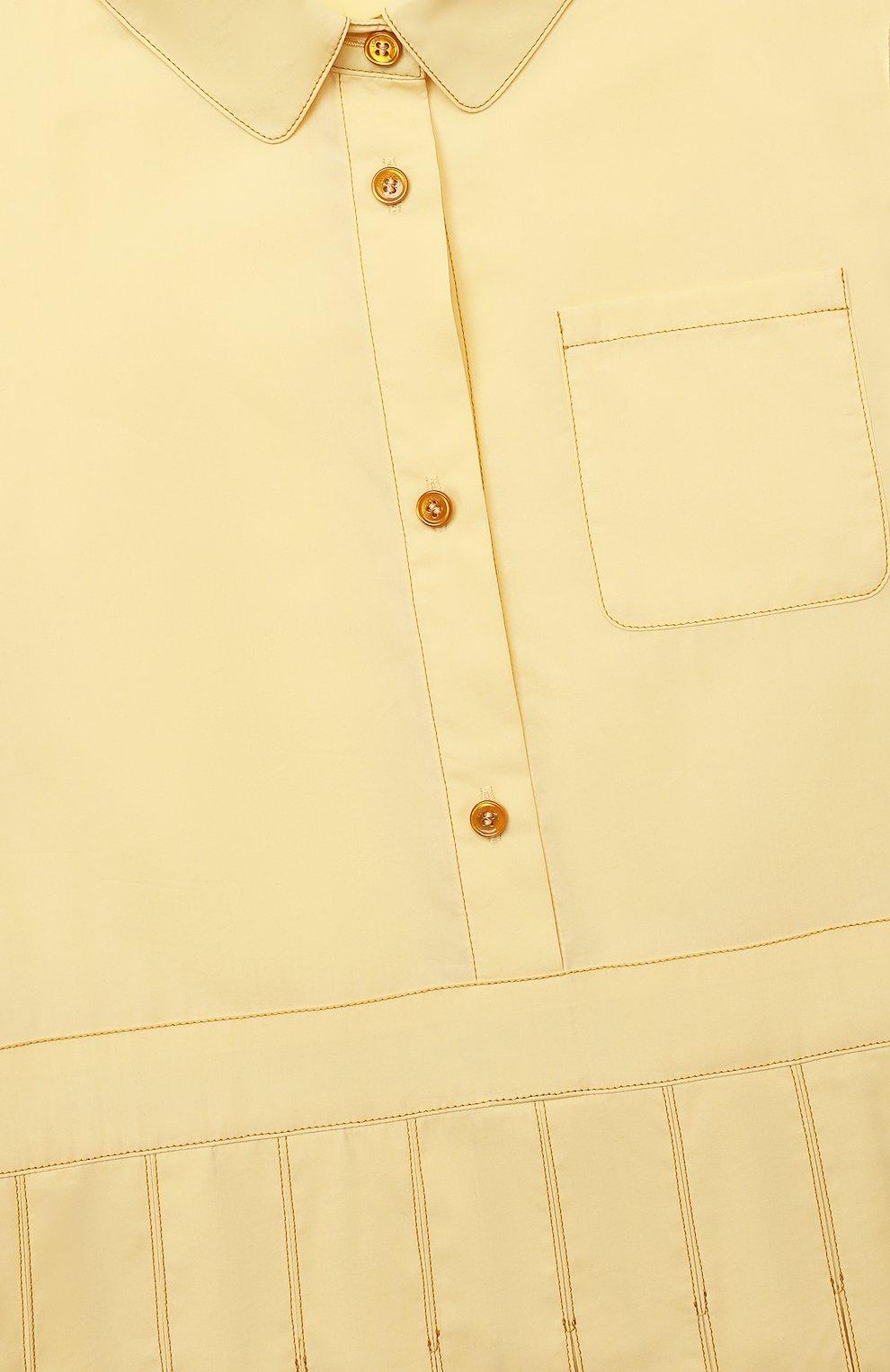 Детское хлопковое платье LORO PIANA желтого цвета, арт. FAL5512   Фото 3 (Рукава: Короткие; Случай: Повседневный; Материал внешний: Хлопок; Девочки Кросс-КТ: Платье-одежда; Ростовка одежда: 10 - 11 лет   140 - 146см, 18 мес   86 см, 4 года   104 см, 6 лет   116 см, 8 лет   128 см)