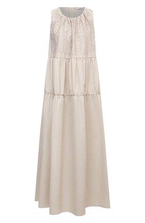Женское хлопковое платье BRUNELLO CUCINELLI бежевого цвета, арт. M0F79ADR85   Фото 1