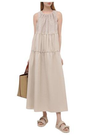 Женское хлопковое платье BRUNELLO CUCINELLI бежевого цвета, арт. M0F79ADR85 | Фото 2