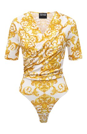 Женское хлопковое боди VERSACE JEANS COUTURE желтого цвета, арт. D4HWA603-WDP214/S0155 | Фото 1