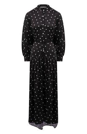 Женское платье TAK.ORI черного цвета, арт. DRT82023PL100SS21 | Фото 1 (Материал внешний: Синтетический материал; Длина Ж (юбки, платья, шорты): Макси, Миди; Рукава: Длинные; Стили: Гламурный; Женское Кросс-КТ: Платье-одежда, платье-рубашка; Случай: Повседневный)