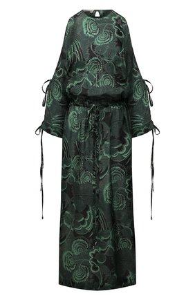 Женское шелковое платье TAK.ORI разноцветного цвета, арт. DRT82046SL100SS21 | Фото 1 (Длина Ж (юбки, платья, шорты): Миди; Материал внешний: Шелк; Рукава: 3/4; Стили: Романтичный; Женское Кросс-КТ: Платье-одежда; Случай: Повседневный)