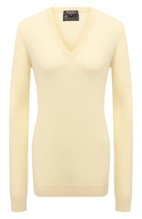 Женский шерстяной пуловер LORO PIANA желтого цвета, арт. FAL6606/VVIC   Фото 1 (Длина (для топов): Стандартные; Рукава: Длинные; Материал внешний: Шерсть; Стили: Кэжуэл; Женское Кросс-КТ: Пуловер-одежда)