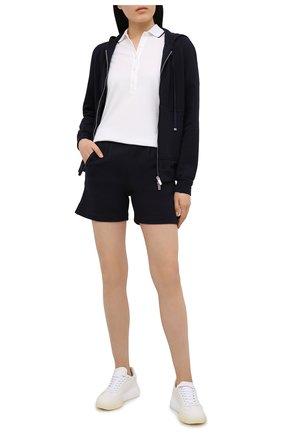 Женские шорты из хлопка и кашемира KITON темно-синего цвета, арт. D51110AK09T22 | Фото 2 (Длина Ж (юбки, платья, шорты): Мини; Материал внешний: Хлопок; Стили: Спорт-шик; Женское Кросс-КТ: Шорты-одежда, Шорты-спорт)