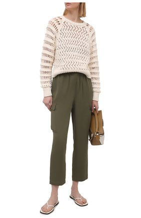 Женские шелковые брюки THEORY хаки цвета, арт. L0202218 | Фото 2