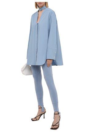 Женская хлопковая рубашка AMBUSH голубого цвета, арт. BWGA008S21FAB001   Фото 2