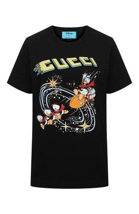 Женская хлопковая футболка disney x gucci GUCCI черного цвета, арт. 644671/XJDBD | Фото 1 (Длина (для топов): Стандартные; Рукава: Короткие; Материал внешний: Хлопок; Стили: Спорт-шик; Принт: С принтом; Женское Кросс-КТ: Футболка-одежда)