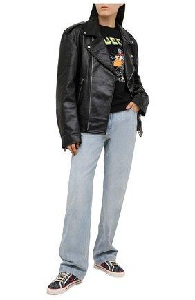 Женская хлопковая футболка disney x gucci GUCCI черного цвета, арт. 644671/XJDBD | Фото 2 (Длина (для топов): Стандартные; Рукава: Короткие; Материал внешний: Хлопок; Стили: Спорт-шик; Принт: С принтом; Женское Кросс-КТ: Футболка-одежда)