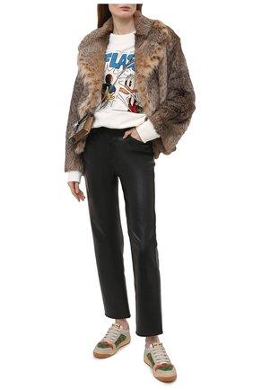 Женский хлопковый свитшот disney x gucci GUCCI белого цвета, арт. 617964/XJDA5 | Фото 2 (Рукава: Длинные; Длина (для топов): Стандартные; Материал внешний: Хлопок; Стили: Спорт-шик; Женское Кросс-КТ: Свитер-одежда, Свитшот-одежда)