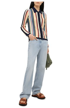 Женские джинсы GUCCI голубого цвета, арт. 644707/XDBLG | Фото 2 (Длина (брюки, джинсы): Стандартные; Материал внешний: Хлопок; Силуэт Ж (брюки и джинсы): Широкие; Кросс-КТ: Деним; Стили: Кэжуэл)