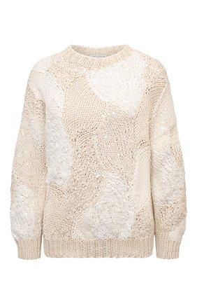 Женский хлопковый свитер BRUNELLO CUCINELLI кремвого цвета, арт. MA0630700 | Фото 1