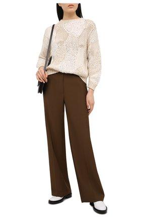 Женский хлопковый свитер BRUNELLO CUCINELLI кремвого цвета, арт. MA0630700 | Фото 2