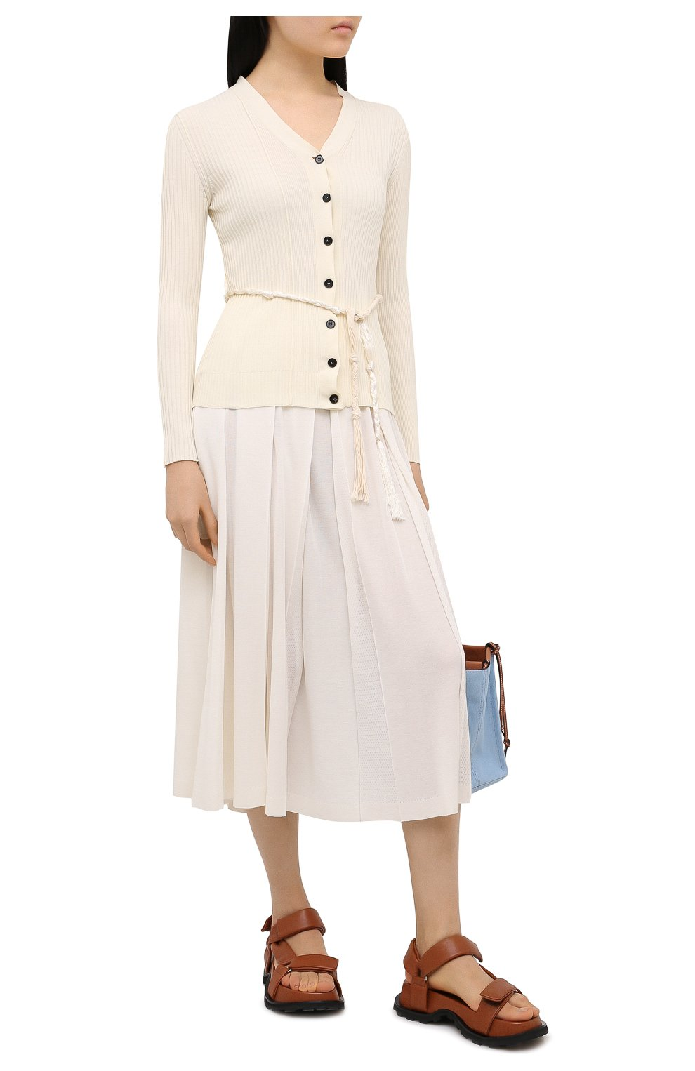Женская юбка из кашемира и шелка LORO PIANA белого цвета, арт. FAL5239 | Фото 2 (Материал внешний: Шерсть, Шелк, Кашемир; Женское Кросс-КТ: юбка-плиссе, Юбка-одежда; Длина Ж (юбки, платья, шорты): Миди; Стили: Романтичный)