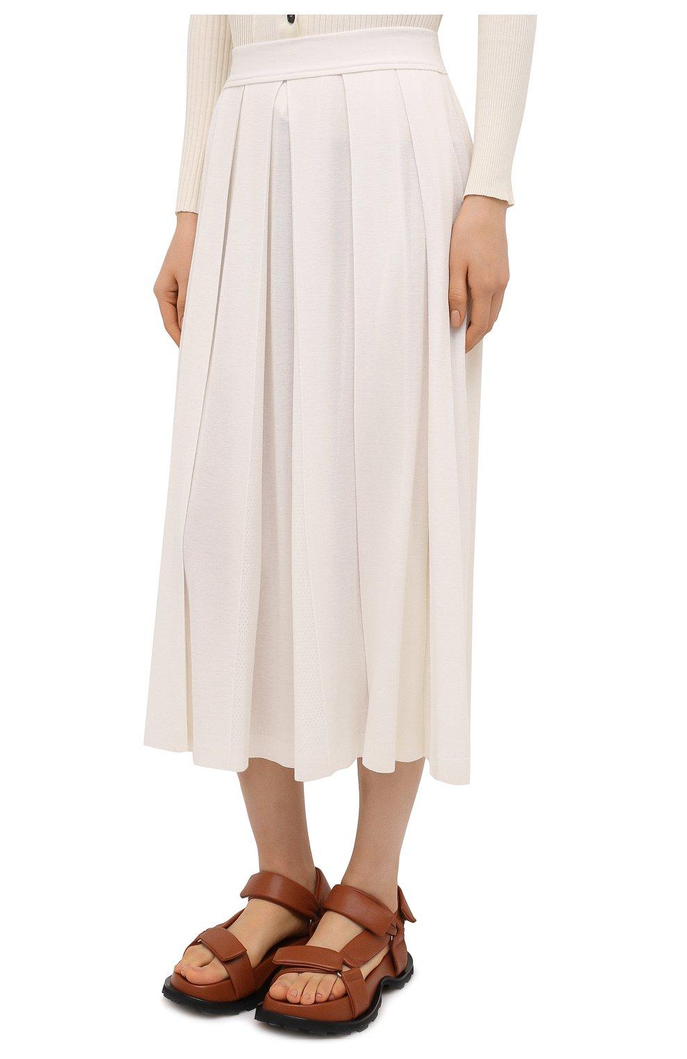 Женская юбка из кашемира и шелка LORO PIANA белого цвета, арт. FAL5239 | Фото 3 (Материал внешний: Шерсть, Шелк, Кашемир; Женское Кросс-КТ: юбка-плиссе, Юбка-одежда; Длина Ж (юбки, платья, шорты): Миди; Стили: Романтичный)