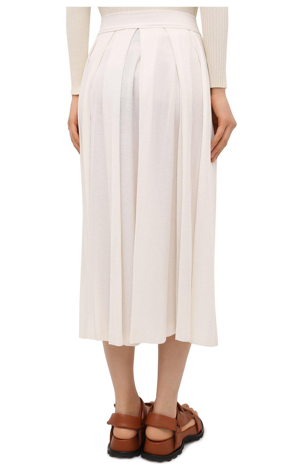 Женская юбка из кашемира и шелка LORO PIANA белого цвета, арт. FAL5239 | Фото 4 (Материал внешний: Шерсть, Шелк, Кашемир; Женское Кросс-КТ: юбка-плиссе, Юбка-одежда; Длина Ж (юбки, платья, шорты): Миди; Стили: Романтичный)