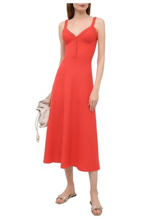 Женское платье из шелка и хлопка LORO PIANA кораллового цвета, арт. FAL5250 | Фото 2