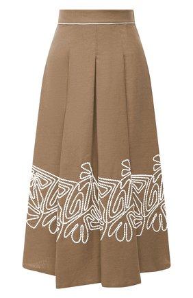 Женская льняная юбка LORO PIANA коричневого цвета, арт. FAL5864 | Фото 1