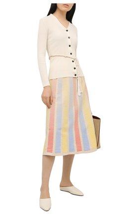 Женская юбка из хлопка и шелка LORO PIANA бежевого цвета, арт. FAL5875 | Фото 2