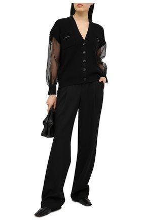 Женский кардиган из хлопка и шелка BRUNELLO CUCINELLI черного цвета, арт. M19750326 | Фото 2