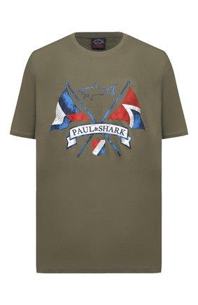 Мужская хлопковая футболка PAUL&SHARK хаки цвета, арт. 21411018/C00/3XL-6XL | Фото 1
