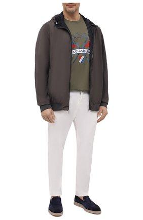 Мужская хлопковая футболка PAUL&SHARK хаки цвета, арт. 21411018/C00/3XL-6XL | Фото 2